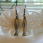 Vintage Mexican Sterling Silver Whale Fish Earrings ~ Pierced