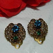 Sparkling Czech Filigree Glass Stone Earrings