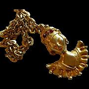 SALE Lovely Reinad Asian Princess Pendant ~ Gold Plated Rhinestone Enamel