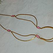 SALE Stunning Pink Bezel Set Crystal Festooned Necklace