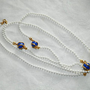 Gorgeous Flapper Length Caged Cobalt Blue Beaded Neckalce