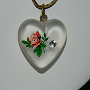 SOLD Awesome Frosted Lucite Heart Pendant w/ Paint & Rhinestone