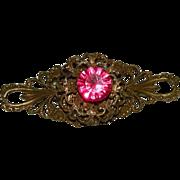 SALE Stunning & Rare Victorian Hot Pink Filigree Bar Brooch