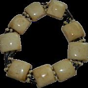 SALE Fabulous Vintage Bone Tile Beaded Expansion Bracelet