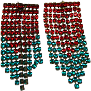 SALE Impressive Massive Red Blue Rhinestone Drape Earrings