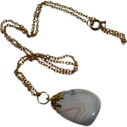 SALE OOAK Pink Banded Agate Stone Pendant on Gold Filled Chain