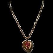 SALE Romantic Double Sided Red Rhinestone Pendant on GF Chain