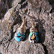 SALE Jackie O ~ Wrapped Sterling Mosaic Turquoise Briolette Earrings