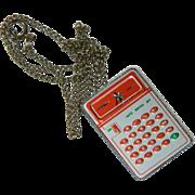 SALE Fun Funky Vintage Calculator Necklace Pendant Novelty Item