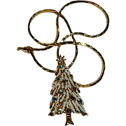 SALE Pristine Vintage Christmas Tree Pendant on Gold Filled Chain