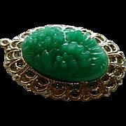 SALE Vintage Molded Peking Glass Floral Pendant in Gold Tone Frame