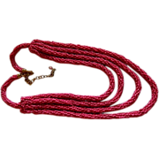 SALE Regal Rich Raspberry Pink Seed Bead 4 Strand Necklace ~ Hand Made