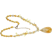 SALE Luscious Hand Made 85 ct Citrine Pendant Necklace ~