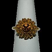 Sun Brilliants Avon Signed Faux Topaz Ring sz 8