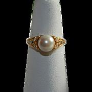 Pretty Vintage Faux Pearl Rhinestone Ring sz 6.5