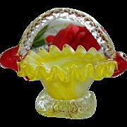 SALE Sunshine Yellow White Swirled Art Glass Basket ~ Ring Holder