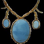 SOLD Impressive Size Genuine Peruvian Blue Opal Pendant & Earring Set