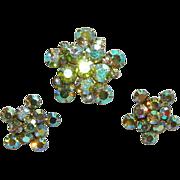 SALE Stunning Weiss Parure ~ Aurora Borealis Rhinestone Star Burst Brooch & Earrings Set