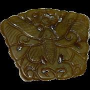 SALE Impressive Semi Translucent Yellow Jade Moth Symbol Pendant ~ Chinese Mythology