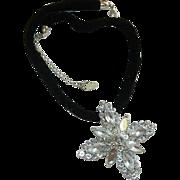 SALE Sophisticated Robert Rose Designer High End Rhinestone Maltese Cross Velvet Necklace