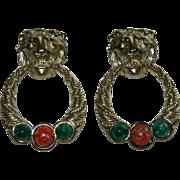 SALE Impressive Anne Klein Lion Head Door Knocker Earrings