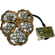 SALE Sparkling Coro Pansy Rhinestone Brooch w Original Hanging Tag!
