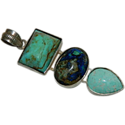 SOLD Special Hand Made Navajo Turquoise, Azurite, Malachite Three Stone Pendant