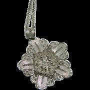 SALE Fine Cannetille Filigree Flower Pendant on Italian Sterling Chain