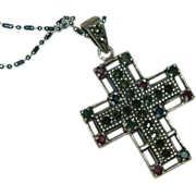 SALE Gorgeous Sterling Silver Sapphire & Ruby Cross Pendant on Sterling Chain