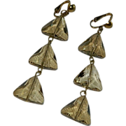 SALE Stunning Faceted Champagne Crystal Three Tiered Dangler Earrings