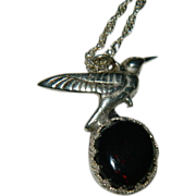 SOLD Gothic Black Opal Sterling Silver Hummingbird Pendant