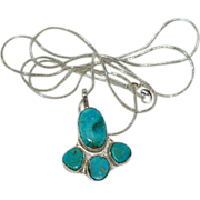 SOLD Hand Made Turquoise Sterling Silver Pendant by Jackie O