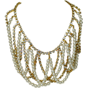 SALE Sparkling Huge Rhinestone & Faux Pearl Bib Necklace