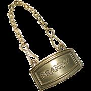 SALE Antique Brass Brandy Bottle Label
