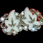 "SALE Fabulous ""Star"" Signed Thermoset White Rhinestone Earrings"