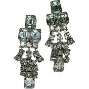 SOLD 1940's Hollywood Glam Huge Rhinestone Dangler Earrings