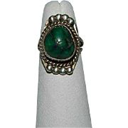 SALE Native Natural Deep Green Turquoise Sterling Silver Ring sz 5