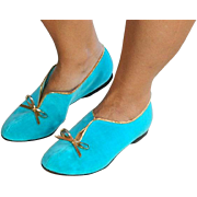 "Pristine ""Leisure Class"" Turquoise Blue Velvet Flat Shoes sz 6.5M"