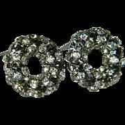 SALE Smoking Smoky Crystal & Rhinestone Circle Earrings