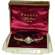 SALE Art Deco Bulova 10K Gold Filled Diamond Watch in Original Box