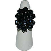 Black Glass Faceted Beaded Cluster Ring ~ Adjustable