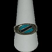 Wonderful Gent's Turquoise & Jet Ring ~ Sz 12