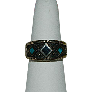 Handsome Turquoise & Jett Diamond Design Ring ~ sz 9
