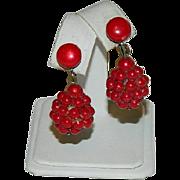 SALE Raspberry Red Early Plastics Drop Earrings