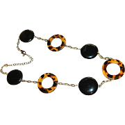 SALE Runway Faux Tortoise Shell Ring Necklace