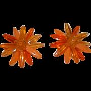 SALE W. Germany Orange ~ Yellow Early Plastics Flower Earrings