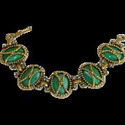 SALE Vintage Etruscan Revival Green Cab Bracelet
