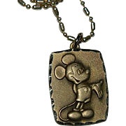 """SOLD Vintage Sterling Mickey Mouse Pendant Charm on 18"""" Sterling Chain"""