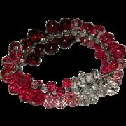 SALE Amazing Glass Cha Cha Bracelet ~ Reds, Pinks, Clear