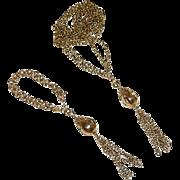 SALE Spectacular Long Double Strand Tassels Necklace & Bracelet Set